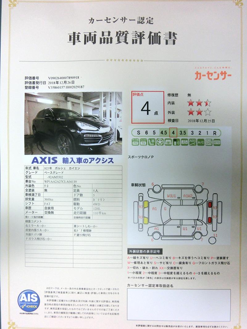 評価 車両 書 品質 品質鑑定について